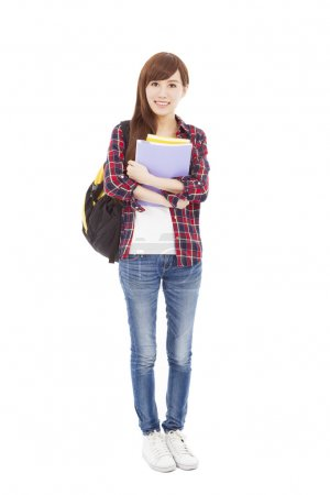 Photo for Full length smiling university student girl standing - Royalty Free Image