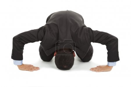 Photo for Businessman apologize with japanese kneeling position - Royalty Free Image