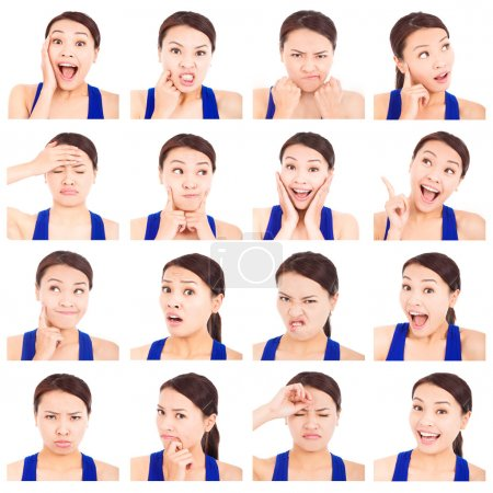 Photo for Asian young woman facial expressions - Royalty Free Image