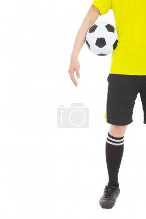 a soccer player holding a ball near waist