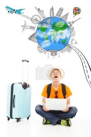 Photo pour Surprenant jeune voyageur pour regarder un point de repère de voyage dans le monde entier - image libre de droit