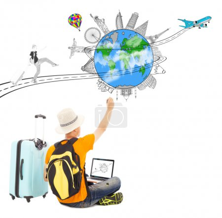 Photo for Backpacker draw a travel trip planning - Royalty Free Image