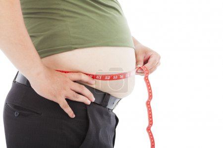 fat man use scale to measure his waistline