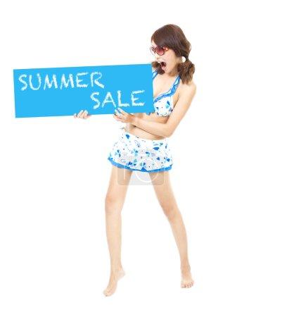 bikini girl holding a sign of  summer sale