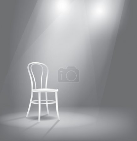 Illustration for Vector stage with white chair in spotlights - Royalty Free Image