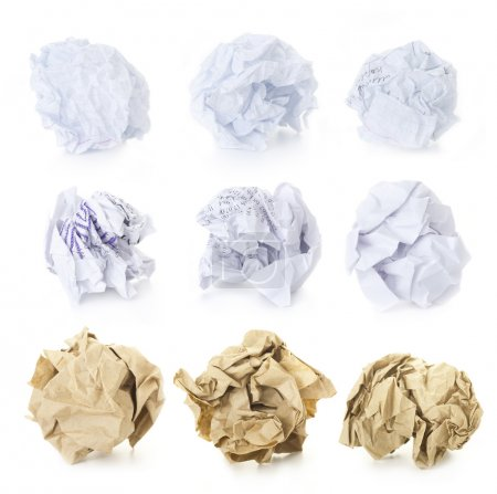 Set of Crumpled Paper Balls - Squered, Office and Brown Craft