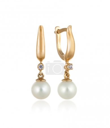 Pair of Gold Earrings with Diamonds and Pearls - Isolated