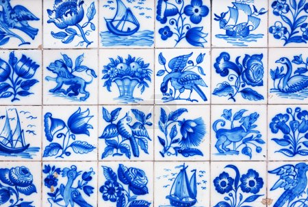 Handmade traditional Portugese Tile (azulejos), Lisbon, Portugal
