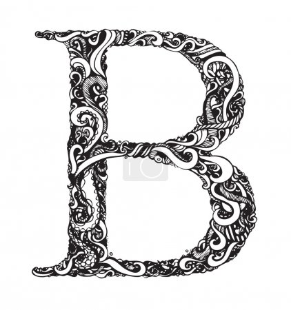Illustration for Capital Letter B - Calligraphic Vintage Swirly Style / Hand Drawn / One Element - Color Change Easy / Vector - Royalty Free Image
