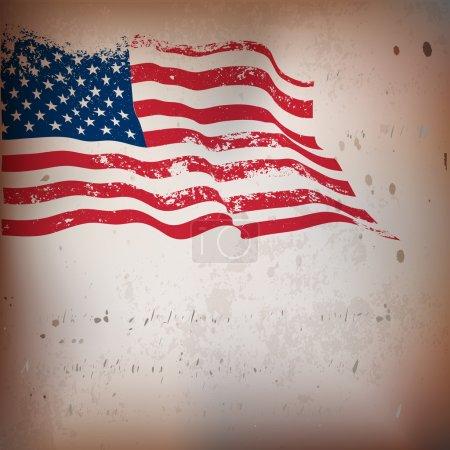 Illustration pour Drapeau américain fond texturé vintage. Vecteur, EPS10 - image libre de droit