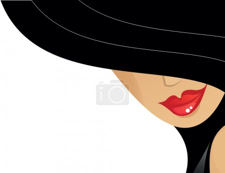 Illustration for Women with black hat and red lips - Royalty Free Image