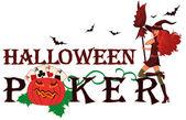 Halloween poker banner with pumpkin vector illustration