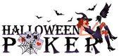 Halloween poker banner with spiderweb vector illustration