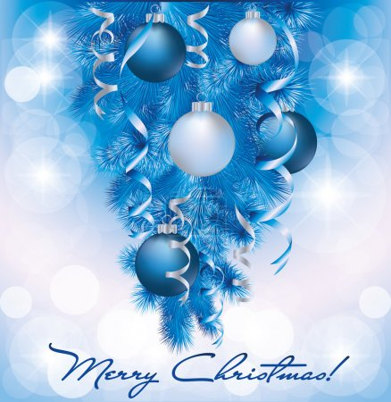 Merry Christmas banner with blue silver balls, vector illustration