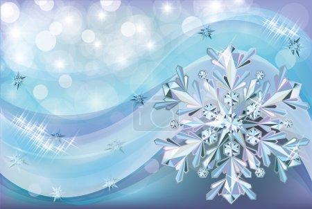 Christmas background with diamond snow, vector illustration