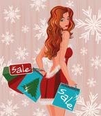 Winter shopping girl with handbags vector illustration