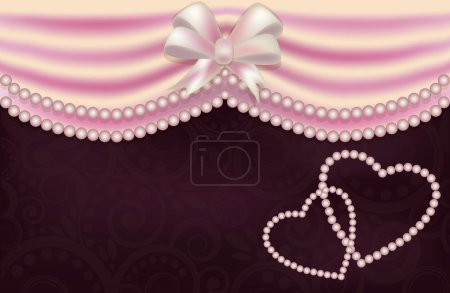 Valentine's Day love card with two pearls heart, vector