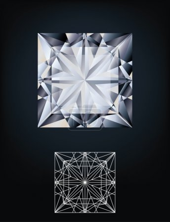 Diamond princess jewel, vector illustration