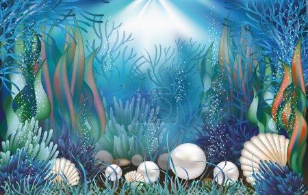 Underwater wallpaper with pearls . vector