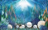 Underwater wallpaper with pearls  vector