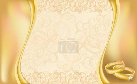 Illustration for Wedding invitation card with golden rings and floral ornate, vector illustration - Royalty Free Image