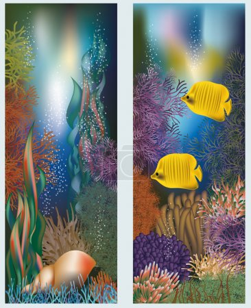 Illustration for Underwater world banners with seashell, vector illustration - Royalty Free Image