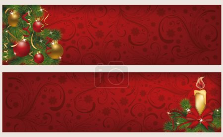 Two christmas winter banners, vector illustration...