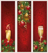 Three christmas banners vector illustration
