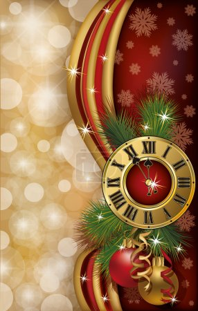 New Year greeting banner with xmas clock, vector illustration