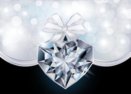 Love card with diamond heart, vector illustration