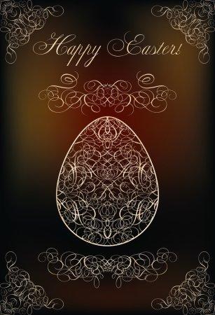 Happy Easter invitation card, vector illustration