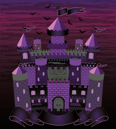 Old witch  haunted castle card, vector illustration