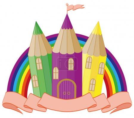 Back to School. fabulous school castle. vector ill...