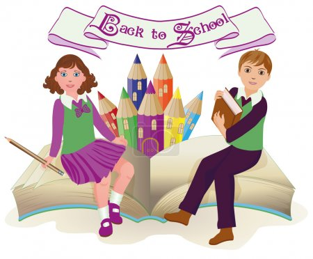 Back to School . Little school girl and boy with old book, vector illustration