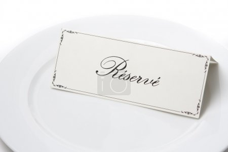 Reserved sign in french on plate