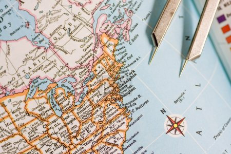 Closeup of a map with new york usa