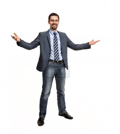 Successful business man with open arms - isolated over a white background