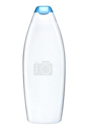 Photo pour Studio de photographie d'une bouteille en plastique blanche avec bouchon bleu azur - isolé sur fond blanc - image libre de droit