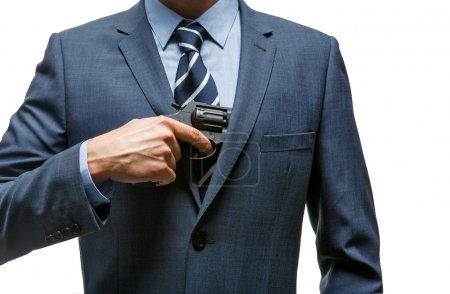 Gangster pulls out a gun