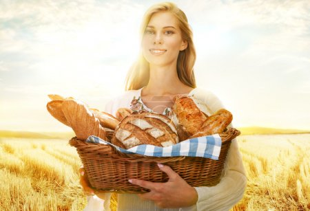 Viable woman with bread and rolls