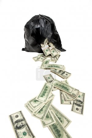 Photo for Studio photography of black plastic bag with hundred dollar bills on a white background - Royalty Free Image