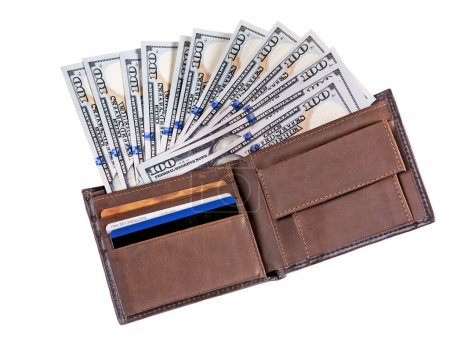 Dollar banknotes in leather wallet