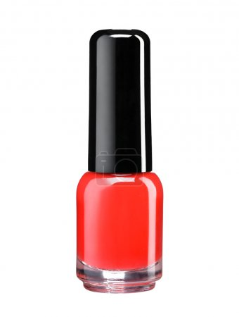 Bottle of red nail polish lacquer