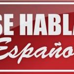 We speak spanish sign illustration design over whi...