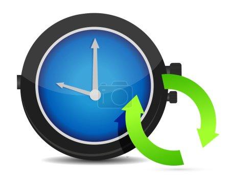 Refresh icon on a blue watch
