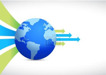 Photo pour Conception de l'entreprise globale, illustration de planète terre sur blanc - image libre de droit