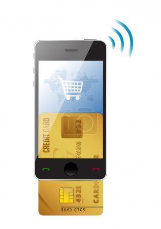 Shopping concept. Credit Card and modern mobile