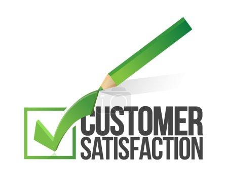 Photo pour Client satisfaction checkmark et crayon illustration dessin sur fond blanc - image libre de droit