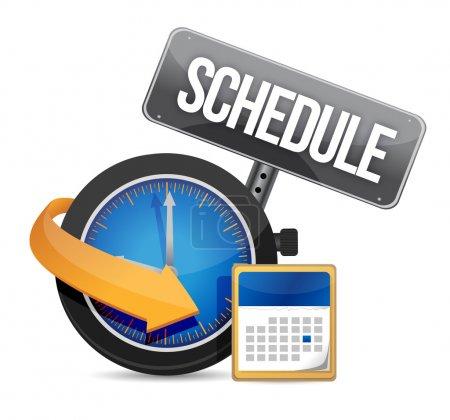 Photo for Schedule icon with clock illustration design over a white background - Royalty Free Image