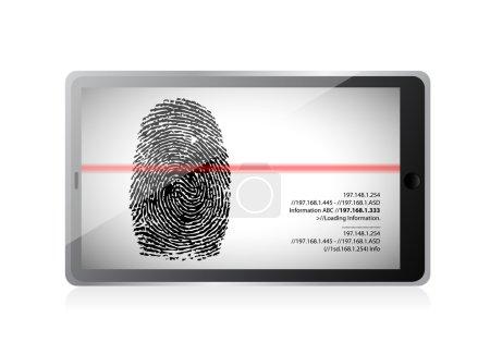 tablet scanning a finger print illustration design